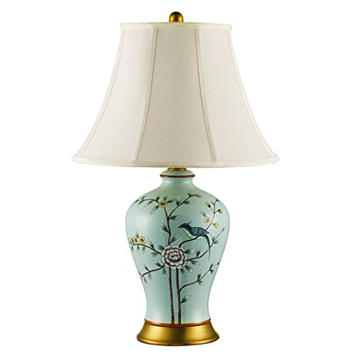 Lampe de bureau En Céramique Rétro Art Lampes De Table Salon Décor Rustique Creative Design Chambre Chevet Lumière Tissu Ombre Pastel Décoration