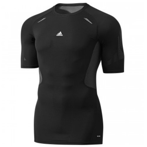 adidas Herren Techfit Preparation Short Sleeve Baselayer/Shirt, schwarz, w61156 Gr. X-Large, Black with Grey Trim - Adidas Chelsea Trainings Trikot