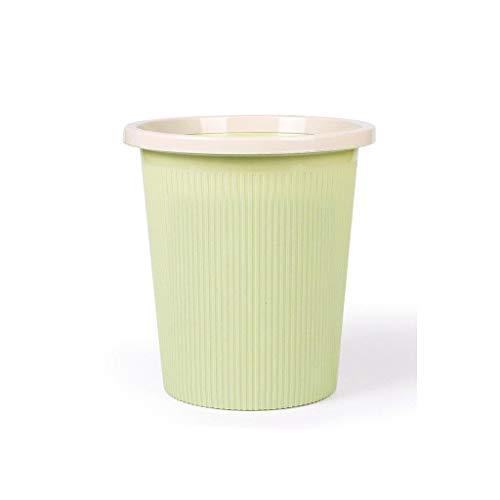 CCJW Kunststoff Mülleimer Papierkorb Runde Mülleimer ohne Deckel, Mülltonne für Badezimmer, Küchen, Home Offices (Color : Green, Size : 23.5x16.5x25cm) (Office-kuchen-deckel)