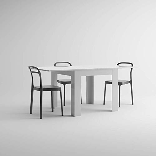 Mobilifiver tavolo allungabile, nobilitato, eldorado, bianco lucido, 90 x 90 x 77 cm