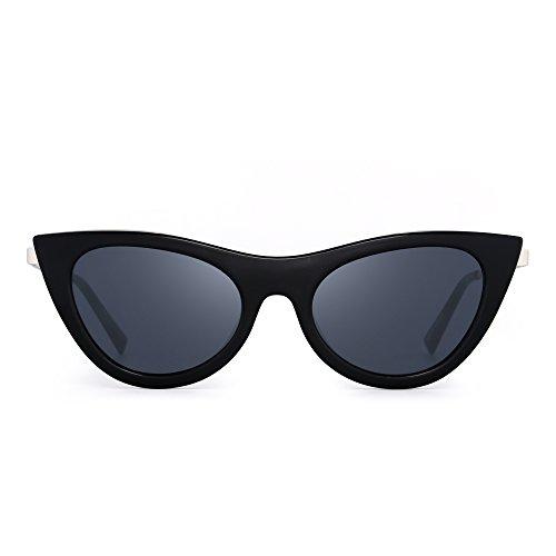 JIM HALO Katzenauge Flach Getönt Klar Linsen Clout Goggles Sonnenbrille Mode Brille Damen (Schwarz/Grau)