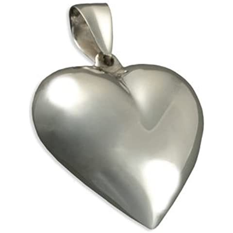 M-Ciondolo a forma di cuore bombato, in argento Sterling, con o senza Chain. ideale con pendente a forma di cuore, in stile Tiffany