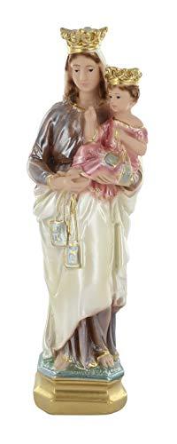 Ferrari & Arrighetti Imagen de la Virgen del Carmen de Yeso Perlado Pintada a Mano - 20 cm