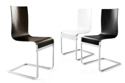 Sedie Bianche Design : Designer sedia a sbalzo in legno e acciaio cromato bianche sedie