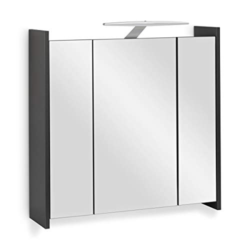 Galdem Elegance Spiegelschrank 70cm Badezimmerschrank Wandschrank Badmöbel 3 Spiegeltüren LED Beleuchtung Steckdose Glaseinlegeböden Anthrazit