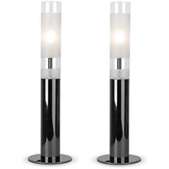 Pair of contemporary black chrome and frosted glass touch table pair of contemporary black chrome and frosted glass touch table lamps aloadofball Images