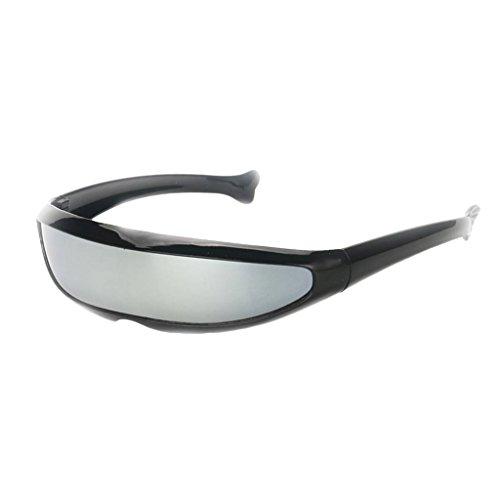 IPOTCH Männer Frauen Futuristische Partybrille Sonnenbrille Verspiegelte Alien - Schwarz Silber