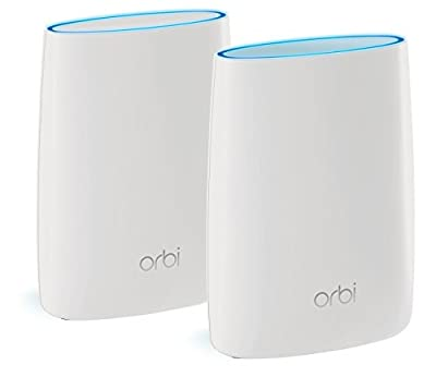 NETGEAR Orbi Whole Home Wi-Fi System 200 sq m Coverage (AC2200 Tri-Band with Router and Wall Plug Satellite) RBK30-100UKS