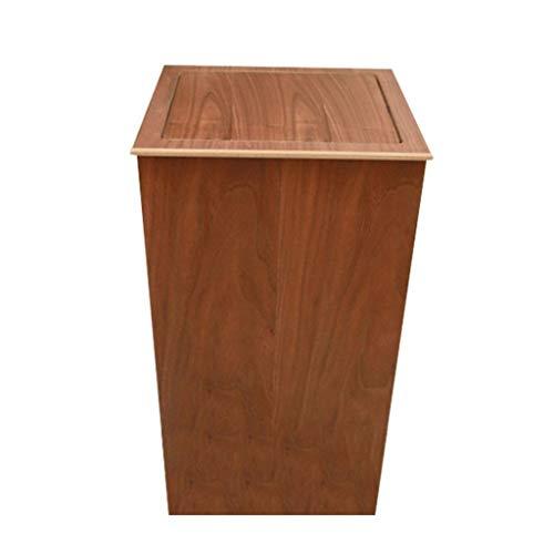 YAYA Im Freien Papierkorb Mülleimer Papierkörbe Holz Mülleimer mit quadratischen großen kleinen 20 Liter (5,3 Gallonen) Müllcontainer (Color : Brown, Größe : 20liters)