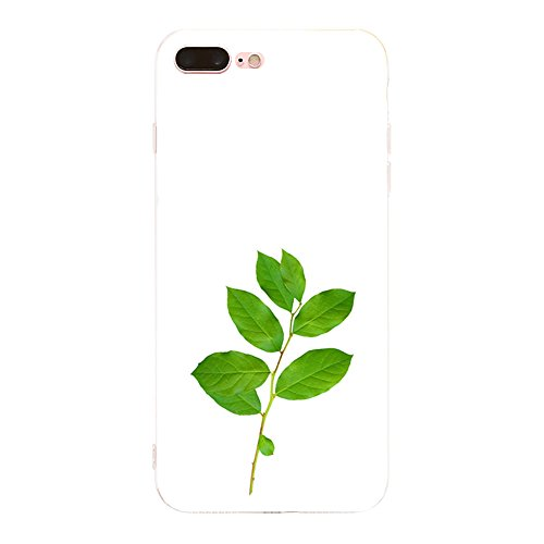 Vanki® Coque iPhone 7 Plus, Motif de feuille verte Ultra transparente silicone en gel TPU souple Coque de Bumper et Anti Scratch Shock Absorption for iPhone 7 Plus 13