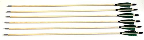 6 Holzpfeile Pfeile aus Kiefernholz 11/32 bis 50 - 60 lbs