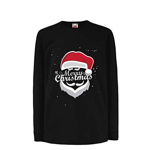 (lepni.me Kinder-T-Shirt mit Langen Ärmeln Frohe Weihnachten - Der Weihnachtsmann kommt in die Stadt (3-4 Years Schwarz Mehrfarben))