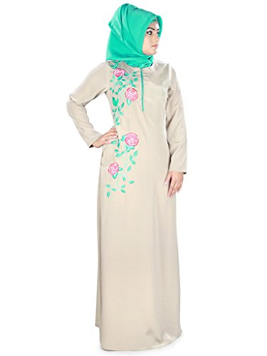 MyBatua Floral Embroidered Sabiha Abaya Warm Grey Crepe