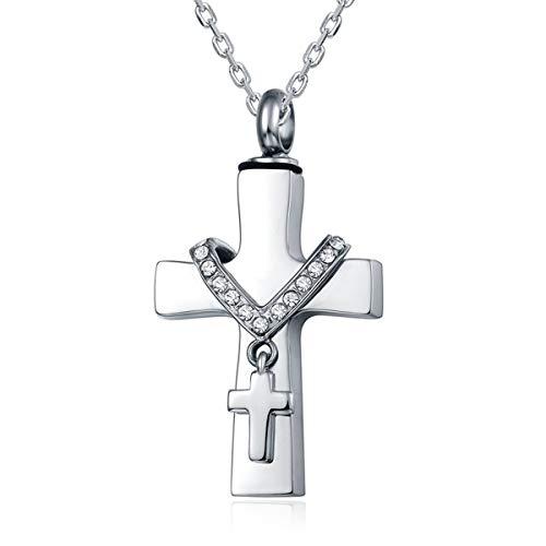 Quiges Edelstahl Memorial Cremation Urn Anhänger Esche Halter Kreuz mit Kreuz für Einäscherung mit verstellbare Halskette 46-52cm (Trauer Schmuck)