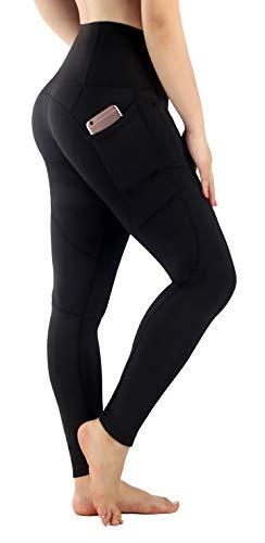 Flatik Damen Blickdichte Leggings HosenYoga Leggings Sporthosen für Damen Elastische Leggings Sporthosen(Schwarz XS)