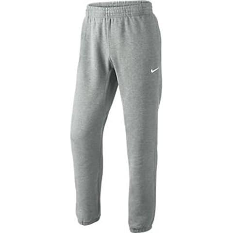Nike Club Cuff Pant-Swoosh - Pantalón para hombre, color gris/blanco (dk grey heather/white), talla S