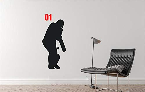 wandaufkleber 3d Wandtattoo Kinderzimmer 5 Stil Cricket Batsman Player Sport Silhouette Wandkunst Aufkleber Home Diy Dekoration Dekor für wohnzimmer Cricket-stil