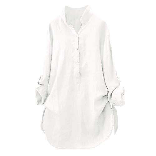 Lustig Kostüm Slutty - iHENGH Damen Sommer Top Bluse Bequem Lässig Mode T-Shirt Blusen Frauen Baumwolle Solide Langarm Shirt Beiläufige Lose Bluse Button Down Tops(Weiß, M)
