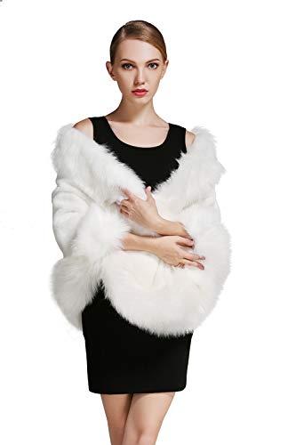 2a09057ec BEAUTELICATE Estola Chal Pelo Mujer Boleros Marfil Negro para Fiesta Bodas  Novia Invierno Vestido de Noche