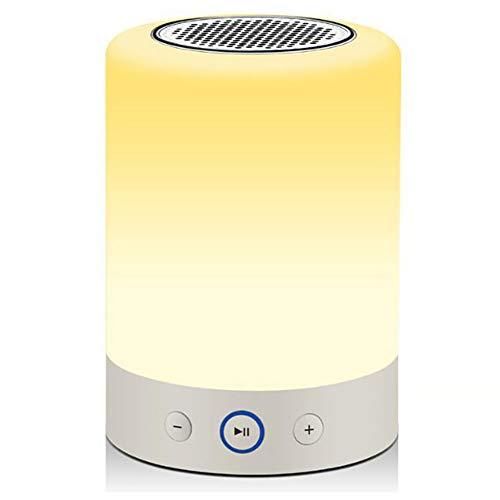 Bluetooth-Lautsprecher, Touch-Nachttischlampe, kabellos, dimmbar, Nachtlicht mit TF-Karte, RGB Farbwechsel, LED-Stimmungslicht, tolles Geschenk für Kinder