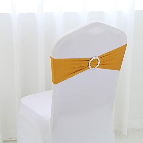 YZEO 50 Stück Lycra Stuhlband Stretch Elastische Spandex Stuhlschleife mit rundem Ring für Hochzeit Bankett Party Dekoration Event Stuhl Schärpen, Sonstige, Gold, 13x35CM Stretch-lycra-ring