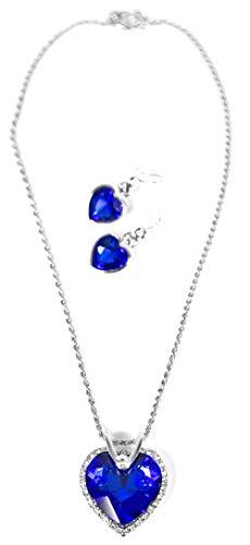Damen Schmuck-Set Titanik Halskette Ohrringe grosses Herz des Ozeans blau