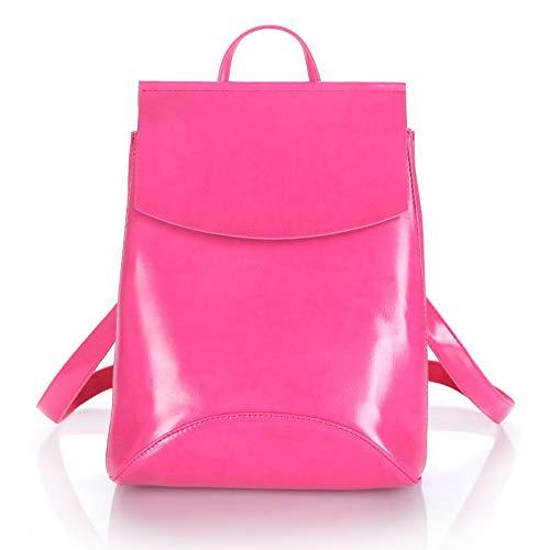 Fashion Women Backpack Pu Leder Rucksäcke Für Teenage Girls Weibliche Schultasche,Hot Pink Lady Hot Pink Leder