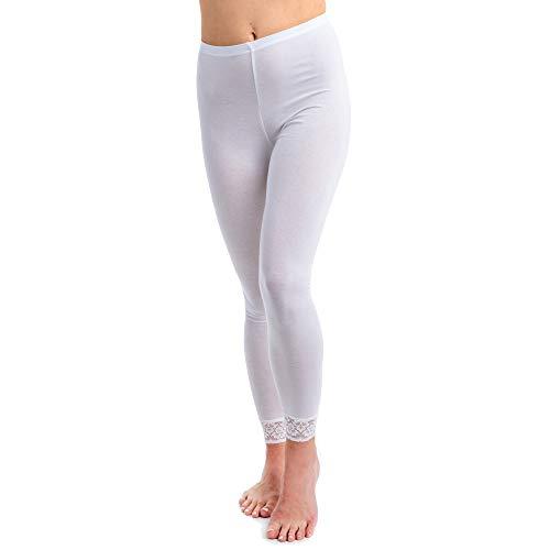HERMKO 5728 Damen Leggings mit Spitze, Farbe:weiß, Größe:44/46 (L)