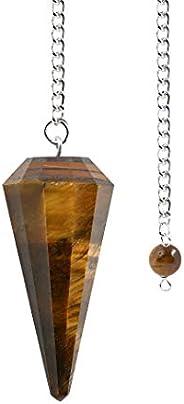 بندول صخور حجر كريم من الكوارتز الطبيعي - لون شفاف - مدبب سداسي، غمول، مشحون بالريكي، شاكرا هيلينج