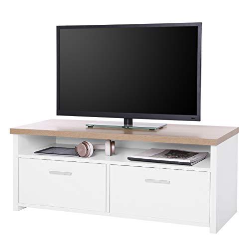 SONGMICS Mueble para TV con Compartimentos y Puertas, Mesa Baja para Televisor, Receptor, Reproductor DVD, para Comedor, Blanco y Color Natural, LTC01WN