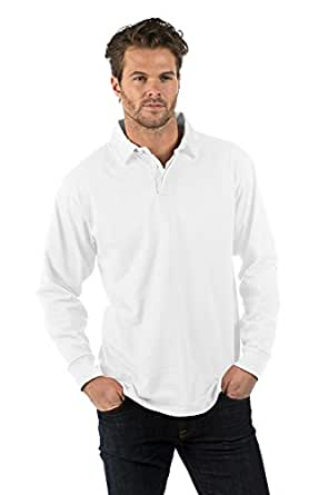 Bruntwood Prime Polo Rugby Manches Longues - Premium Long Sleeve Rugby Shirt - Homme & Femme - 280GSM - Coton/Polyester (Blanc, XS)