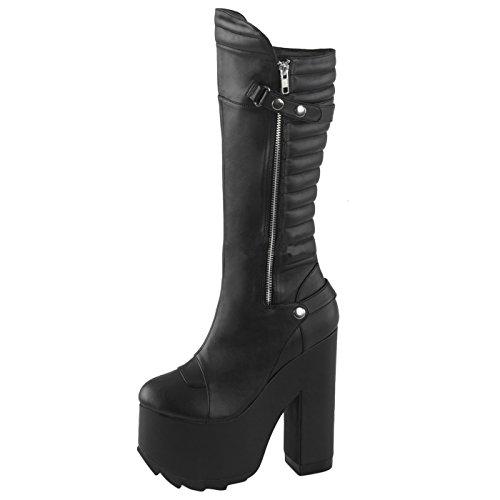 Gothic Stiefel, Damen, Schwarz (schwarz) Schwarz (Schwarz)