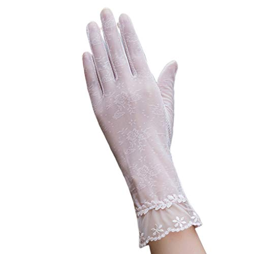 Lifet Damen UV-Handschuhe, Anti-UV Schutz Spitze, Dünn Sonnenschutz Fäustlinge Gloves Golf Outdoor Motorrad Radfahren UV-Schutz Sun Driving-Handschuhe