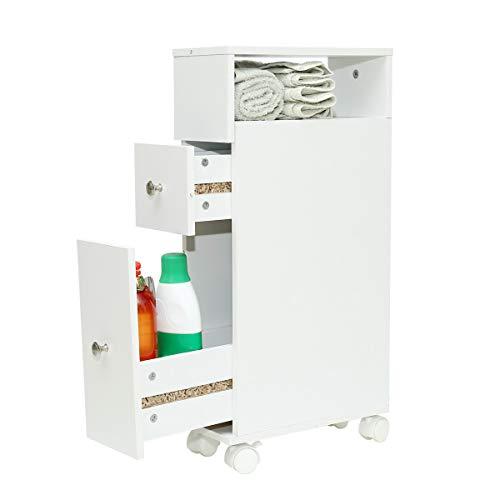 Wonderhome Weiß badezimmerschrank mit 2 Schublade,nischenregal 15 cm breit, 4 Räder(B/T/H): 33/15/65 cm