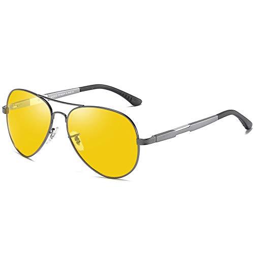 DUCO Herren und Damen Pilotenbrille Nachtfahrbrille mit Leichte Metallrahmen Nachtsichtbrille Autofahren Anti Glanz Polarisiert KontrastBrille 3026 (Gunmetal)
