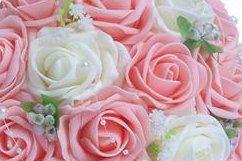 DYF Hand Holding Pearl Romantique Fleur Simulation,Décoration de Mariage Blanc en Poudre