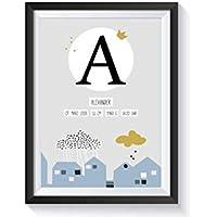 Personalisiertes Geschenk zur Geburt für Baby Jungen mit Bilderrahmen | verschiedene Farben und Motive | A4 Kunstdruck Kinderzimmer