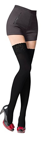 NEW Lace Top 80 Denier Sheer Hold-Ups Stockings by Romartex , 9 Various Colours- Sizes S-XL
