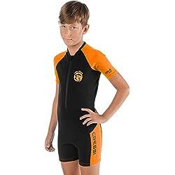 Cressi Little Shark Shorty Wetsuit Combinaison Enfant Néoprène 2mm Unisexe, Noir/Orange, 5/6 Ans