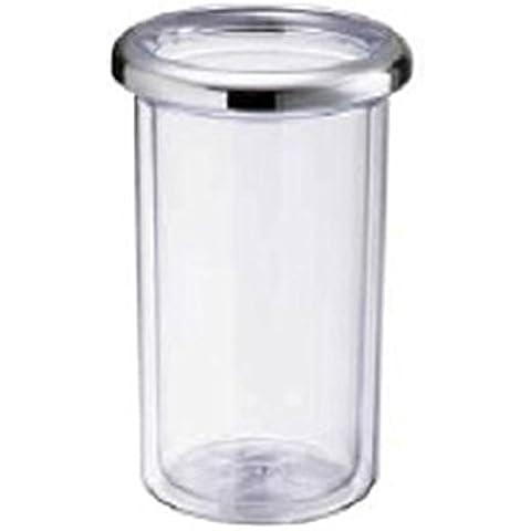 Termo bottiglia plastica trasparente doppia parete ghiera cromata