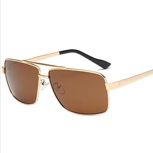 SUNHAO Sonnenbrille Herren polarisierte Fischerei Brille Sportbrillen Fahren zum Golf Mode-Stil Metallrahmen UL-Piloten Retro Quadrat Spiegel zu schütze