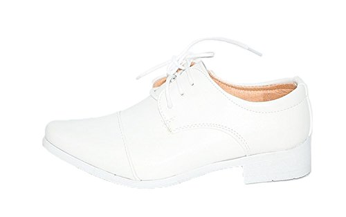 Kinderschuhe Festliche Jungen Halbschuhe Taufe Hochzeit weiss Gr. 24 bis 37, Grössen Schuhe:26;Farbe:Weiss (Smoking-schuhe Weiße)
