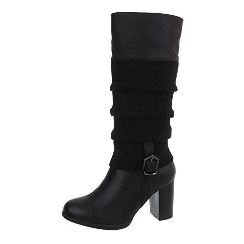 Ital-Design Damenschuhe Stiefel Klassische Stiefel Synthetik Schwarz Gr. ()