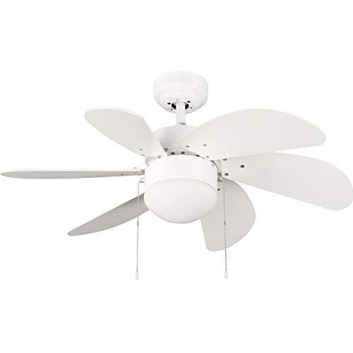 Wonderlamp Basic Ventilador de Techo con Luz E27, 15 W, Blanco, 76.2...