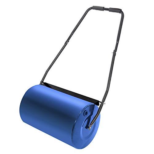 HENGMEI Rouleau à Gazon de jardin en métal avec poignée avec volume de remplissage 46L, Bleu