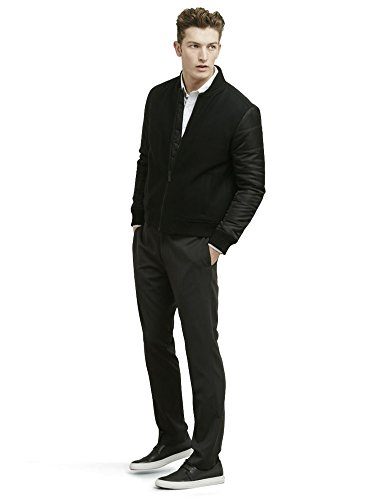 Kenneth Cole Reaction Men's Quilted Bomber Jacket, Black Combo, Large -