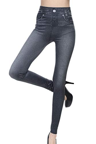Donne Denim Leggings Stretch Vita Alta Jeans Pantaloni Elegante Modellante Dimagrante Visto Nero S/M
