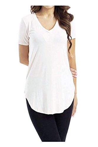 790c79204a2636 Issza Damen Casual V-Ausschnitt Kurzarm Shirt Lose Lang Shirt Bluse Top