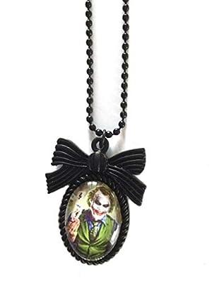 Collier Joker Batman : Pendentif cabochon en verre handmade d'inspiration vintage
