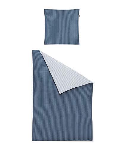 Irisette Mako Satin Bettwäsche 2 teilig Bettbezug 135 x 200 cm Kopfkissenbezug 80 x 80 cm Cedar 322847-20 Indigo - Cedar 20